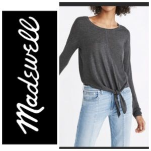 Madewell grey front tie long sleeve top